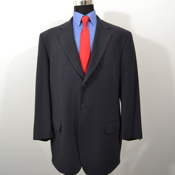 Hilton 46R Sport Coat Blazer Suit Jacket Black Pin